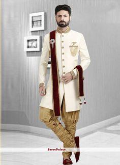 Buy Sherwani Embroidered Art Dupion Silk in Cream Online Wedding Dresses Men Indian, Wedding Outfits For Groom, Wedding Dress Men, Wedding Couples, Wedding Ideas, Fabric Shop, Silk Fabric, Wedding Sherwani, Punjabi Wedding