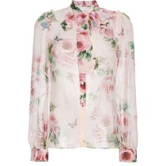 Dolce & Gabbana Silk Rose Print Chiffon Blouse (€1.380) ❤ liked on Polyvore featuring tops, blouses, silk top, silk chiffon blouse, chiffon tops, chiffon blouses and rose print top
