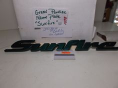 Pontiac Sunfire DOOR EMBLEM Nameplate Trunk Badge Logo Green OEM 1078 #PONTIAC
