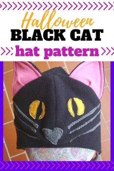 Have a cat lover at your house? This simple black cat hat tutorial is a great sew for a simple costume or everyday wearing. Hat Patterns To Sew, Sewing Patterns For Kids, Easy Sewing Projects, Sewing For Kids, Halloween Sewing, Fall Sewing, Halloween Crafts, Toddler Cat Costume, Diy Crafts For Kids Easy