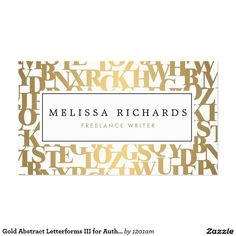 Gold Abstract Letterforms Business Card for Authors, Writers - double-sided design, ready to personalize