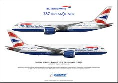 The British Airways 787 Dreamliner carries 214 passengers and is . Boeing 787 8, Boeing Aircraft, Passenger Aircraft, Vintage Travel Posters, Vintage Ads, Event Logistics, Camouflage, All Airlines, Civil Aviation