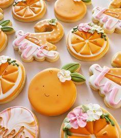 A little cutie is turning .Orange cutter from 🍊 . Orange Party, Galletas Cookies, Sugar Cookies, Orange Cookies, Baby Shower Cookies, Baby Shower Fruit, Shower Bebe, Cookie Time, Cookie Designs
