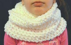 Handmade Crochet Wide White Infinity Scarf For Kids by FarahsAttic, $15.00