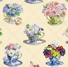 Teapot Fabric Elizabeth Studio Fabric teacup fabric flowers 3315