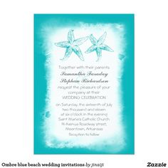Ombre blue beach wedding invitations