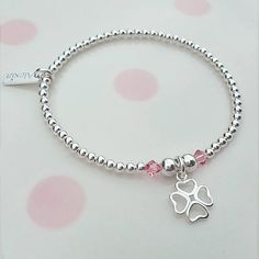 Beautiful Sterling Silver Four Leaf Clover and Swarovski® Birthstone Bracelet! x Four beautiful miniature hearts, create this fabulous, lucky four leaf clover charm. ✭ Made with 3mm Sterling Silver Beads. ✭ Charm Measurements 10mm. ✭ Signature Alexia Tag optional. ✭ Made with