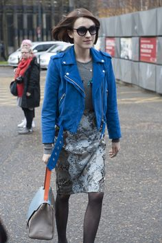 Ella Catliff caught our attention in a bright blue suede jacket. London Fashion Week Fall 2014 Street Style #LFW