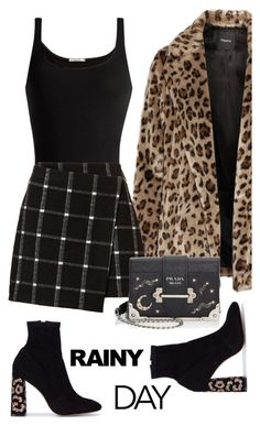 """Faux Fur Coat"" by sara12alexandra ❤ liked on Polyvore featuring Theory, Wolford, Sophia Webster and Prada"