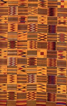 - Has some cocoa bean colors - Africa | Kente cloth detail from the Asante people of Ghana | 19th - 20th century