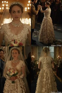"""In the episode 4x04 (""""Playing with Fire"""") Princess Claude wears this Reign Costumes custom wedding dress with flower appliques. I love I love❤️..gorgeous"""