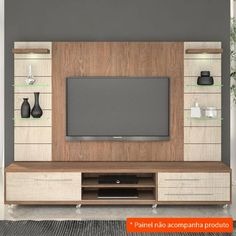 Rack Veneza Carvalho Évora e Santana 200 cm Wall Unit Designs, Living Room Tv Unit Designs, Tv Wall Design, Tv Unit Furniture Design, Tv Unit Interior Design, Tv Furniture, Modern Tv Room, Modern Tv Wall Units, Tv Unit Decor