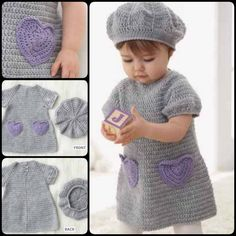 snuggly crochet dress with heart-shaped pockets