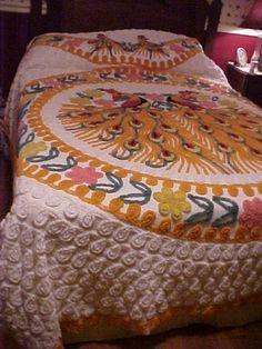 colorful vintage orange double peacock chenille bedspread