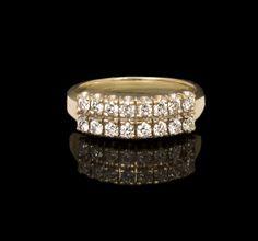 Ladies 14k Yellow Gold .45 cttw Two Row Round Diamond Wedding Band $339