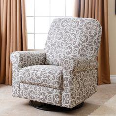 Abbyson Living Perth Floral Swivel Glider Recliner Chair