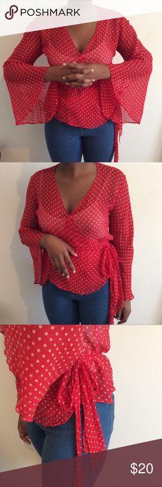 Size 12 Silk Kimono Wrap Polka Dot Blouse Boston Proper 100% silk Wrap Blouse. Kimono sleeves. Very cute red with polka dots. Size 12. Boston Proper Tops Blouses