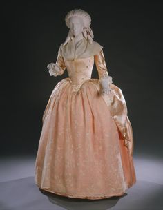 Philadelphia Museum of Art - Collections Object : Woman's Dress (Robe à l'anglaise) Artist/maker unknown, American Geography: Made in United States, North and Central America Date: Medium: Peach silk satin 18th Century Dress, 18th Century Costume, 18th Century Clothing, 18th Century Fashion, 19th Century, 1700s Dresses, Old Dresses, Vintage Dresses, Vintage Outfits