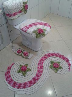 Jogo de banheiro flor caracol.
