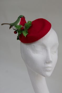 Christmas Party- red felt pillbox hat with robin and holly, burlesque, winter wedding, cocktail party. on Etsy
