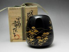 NATSUME-JAPANESE TEA CEREMONY-GOLD LACQUERED WOODEN TEA CADDY-W/BOX #1538