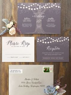 Magical wedding invitation suite to set the tone for your perfect summer evening wedding. Stationery: Minted ---> http://www.minted.com/sem/wedding?utm_source=weddingchicks&utm_medium=onlineadv&utm_content=socialpinterest&utm_campaign=Q2
