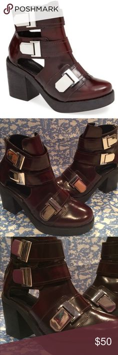 """Topshop """"Aubrey"""" Platform Boot Almost new! Only worn once Topshop """"Aubrey"""" platform boot. Rocker chic boot that will bring any outfit to life. Back zip closure, a bit on the heavy side but worth it! Burgundy Leather upper with 3""""heel and silver straps. (Don't have original box but will send in different new box) Topshop Shoes Ankle Boots & Booties"""