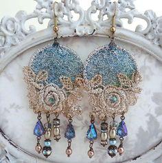 Bohemian earrings boho lace earrings chandelier by LaCamelot
