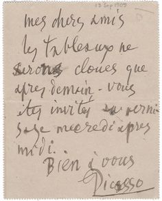 Picture of a note to left for Gertrude Stein by Picasso Pablo Picasso Drawings, Satisfy My Soul, Most Famous Quotes, Old Paper, Book Authors, Love Letters, Literature, How To Look Better, Lettering