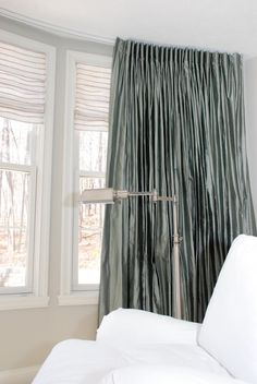 Combining Hard and Soft Window Treatments - Drapery Street Combining Hard a Silk Drapes, Drapes Curtains, Drapery, Farmhouse Window Treatments, Farmhouse Windows, Custom Drapes, Window Design, White Furniture, Window Coverings