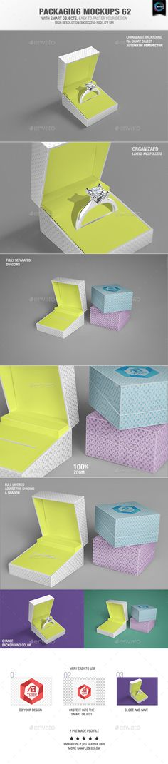 Packaging Mock-ups 62  With smart objects, easy to paste your design 02 Pre made psd file High resolution 3000×2250 pixel Changeable background via smart objects – Automatic perspective Organizaed Layers and folders