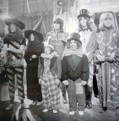 John Lennon, Yoko Ono, Keith Richards, Mick Jagger, Brian Jones & a couple of clowns, in the late sixties