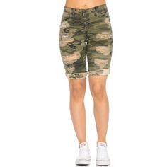 Distressed Bermuda Shorts in Camouflage ($37) ❤ liked on Polyvore featuring shorts, destroyed shorts, stretchy shorts, stretch shorts, camoflauge shorts and torn shorts
