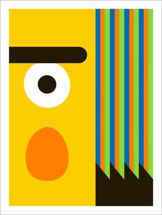 Abstracte Sesamstraat-figuurtjes.