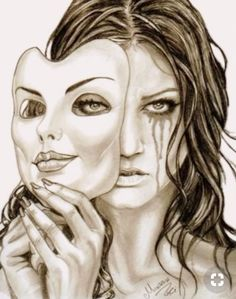 """Smile N Sad"" criativa em - Zeichnungen traurig - Arte Sad Sketches, Sad Drawings, Dark Art Drawings, Pencil Art Drawings, Art Drawings Sketches, Smile Drawing, Mask Drawing, Arte Obscura, Deep Art"