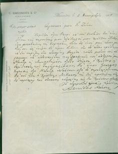 Greece Greek Merchant in Alexandria Egypt C Simeonides Commercial Doc 1907 RARE | eBay