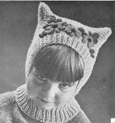 vintage knitting pattern childrens childs kids kitty ears cat hat hood helmet collar collard bonnet snod 1940 electronic printable pdf