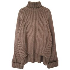 High Low Oversized Turtleneck Sweater (995.355 IDR) ❤ liked on Polyvore featuring tops, sweaters, light brown, over sized sweaters, polo neck sweater, brown turtleneck, acrylic sweater and turtle neck tops