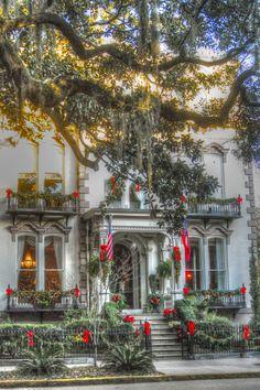 the Hamilton-Turner Inn, Savannah decorated for the holidays