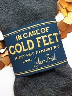 """In Case of Cold Feet"" Socks Label- Navy & Gold Bride's Gift to Groom #weddingideas"