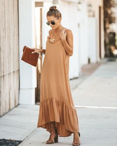 Ruffle Loose Maxi Dress S / Orange Effortless Chic, Orange, Dress Collection, Dress To Impress, Fashion Dresses, Cold Shoulder Dress, Summer Dresses, Outfits, Beach Tips
