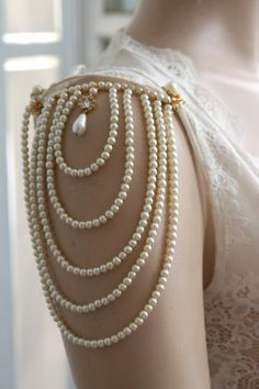 Shoulder Epaulettes Bridal Jewelry Accessories Ivory Pearls And Rhinestones, 1920 Inspiration Shoulders Necklace Wedding Jewelry, OOAK Wedding inspiration and ideas here: www.weddingideastips.com