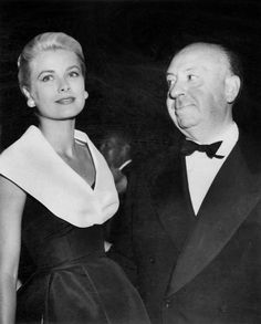Grace Kelly and Alfred Hitchock at opening night of film Rear Window in 1959.  Now that I know all the back story with his infatuation with her, this is a creepy photo.