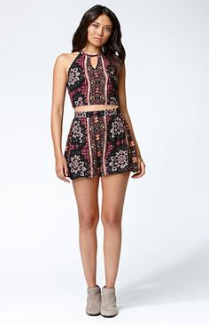 Floral Print High-Waisted Pleated Shorts-PacSun