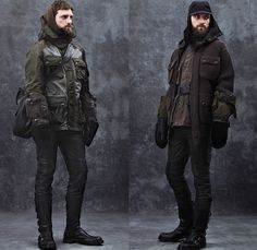 Belstaff 2014-2015 Fall Autumn Winter Mens Looks Fashion Presentation - Milano Moda Uomo Milan Fashion Week - Motorcycle Biker Rider Jeans Cargo Pockets Knit Sweater Jumper Scarf Field Jacket Outerwear Belt Gloves Military Aviator Ribbed Panel Hoodie Shearling Coveralls Jumpsuit Boiler Suit Overcoat Parka Poncho Cloak
