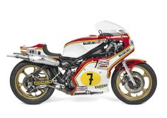 The Suzuki has been hailed by many as the Norton Manx of the era. Its unusual engine launched the Japanese to the Norton Manx, Wooden Bicycle, Bicycle Painting, Old Bikes, Racing Motorcycles, Road Racing, Racing Bike, Street Bikes, Number 7