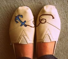 DIY Tom's Shoes Design! Cute. #Shoes #Toms #Anchor #DIY