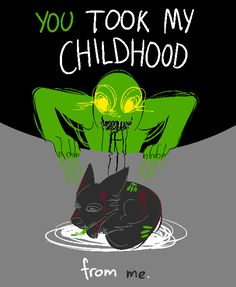 "@colorblindhatred; Can I request a small wolf pup with red injuries/bruises being harassed by a vomite green gross human with yellow eyes with the words ""YOU TOOK MY CHILDHOOD FROM ME"" – a cool cat who (after some small confusion) donated and was..."