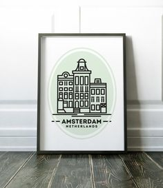 Amsterdam Minimalist City Scape Travel Print Art Prints Wall Decor Minimalist City Poster Scandi Modern Art Scandinavian Print Wall Print