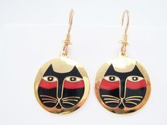 Moon Cat Earrings Laurel Birch Signed Vintage by MasCollected